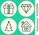 christmas icons set. collection ... | Shutterstock .eps vector #629205098