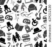 pensioner senior citizen theme... | Shutterstock .eps vector #629212130