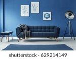 fancy grey lamp in blue... | Shutterstock . vector #629214149