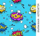 comic speech bubbles and... | Shutterstock .eps vector #629216714