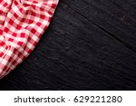 Red Table Cloth On Black Wooden ...