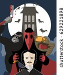 horror gothic writer with black ... | Shutterstock .eps vector #629221898
