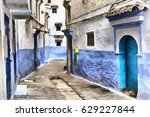 colorful painting of streets of ... | Shutterstock . vector #629227844