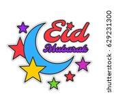 eid mubarak colorful greeting...   Shutterstock .eps vector #629231300
