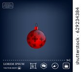 red christmas ball with... | Shutterstock .eps vector #629234384