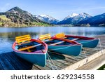 schliersee lake in bavaria - row boats - stock photo