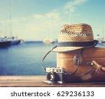 vintage suitcase  hipster hat ...   Shutterstock . vector #629236133