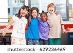 multi ethnic classroom. afro... | Shutterstock . vector #629236469