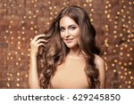 beauty brunette woman portrait. ... | Shutterstock . vector #629245850