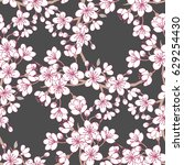 seamless pattern  with sakura... | Shutterstock .eps vector #629254430