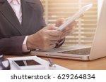 business woman using tablet...   Shutterstock . vector #629264834