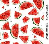 juicy watermelon. watercolor... | Shutterstock . vector #629269856