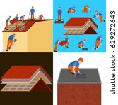 roof construction worker repair ... | Shutterstock .eps vector #629272643