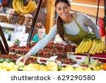 young attractive fruit market... | Shutterstock . vector #629290580