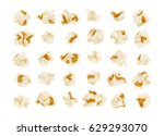 set of popcorn  isolated on... | Shutterstock .eps vector #629293070