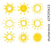 funny doodle suns. hand drawn... | Shutterstock .eps vector #629293613