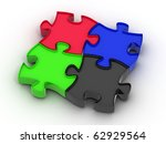 four colored puzzle on white... | Shutterstock . vector #62929564