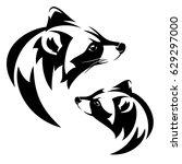 raccoon  procyon lotor  profile ... | Shutterstock .eps vector #629297000