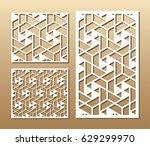 die cut card. laser cut vector ... | Shutterstock .eps vector #629299970