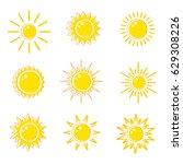 flat icons sun. vector... | Shutterstock .eps vector #629308226