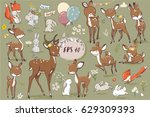 Stock vector set with cute hares and deer 629309393