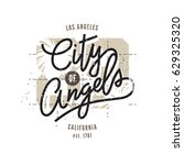 los angeles  aged vintage style ... | Shutterstock .eps vector #629325320