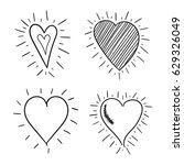 hand drawn hearts icon set.... | Shutterstock .eps vector #629326049