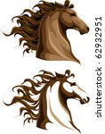Stock vector two horses heads 62932951