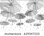 flying umbrellas for background ...   Shutterstock .eps vector #629347223