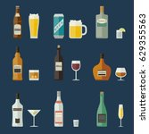 bottles of alcoholic beverages... | Shutterstock .eps vector #629355563