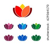 colorful lotus flower logo... | Shutterstock .eps vector #629364170