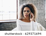 angry sad girl  african... | Shutterstock . vector #629371694