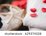 wellness decoration with red... | Shutterstock . vector #629374328
