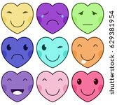 funny cartoon hearts with... | Shutterstock .eps vector #629381954