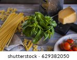 italian pasta with sauce ... | Shutterstock . vector #629382050