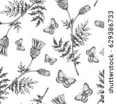 plants butterfly bud flowers... | Shutterstock .eps vector #629386733
