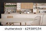 minimalist white wooden kitchen ...   Shutterstock . vector #629389154