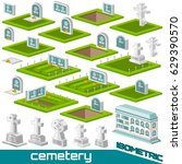 set of isometric grave and... | Shutterstock .eps vector #629390570