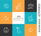 breakfast   set of vector icons ... | Shutterstock .eps vector #629390810