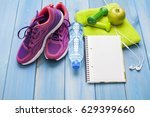 fitness healthy concept shoes... | Shutterstock . vector #629399660