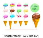 vector flat collection of tasty ... | Shutterstock .eps vector #629406164