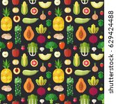 fruit and vegetable flat style... | Shutterstock .eps vector #629424488