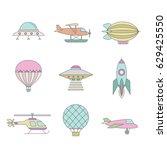 air transportation outline... | Shutterstock .eps vector #629425550