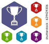 winner cup icons set hexagon... | Shutterstock .eps vector #629429306