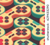 joystick retro seamless pattern.... | Shutterstock .eps vector #629433290