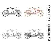 tandem bike.pleasure bicycle... | Shutterstock .eps vector #629443538