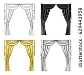 curtains with drapery on the...   Shutterstock .eps vector #629443958
