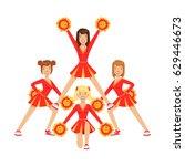 cheerleader girls with pompoms... | Shutterstock .eps vector #629446673