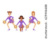 cheerleader girls with pompoms... | Shutterstock .eps vector #629446688