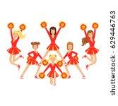 cheerleader girls with pompoms... | Shutterstock .eps vector #629446763